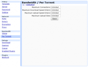 Bandwith \ Per Torrents